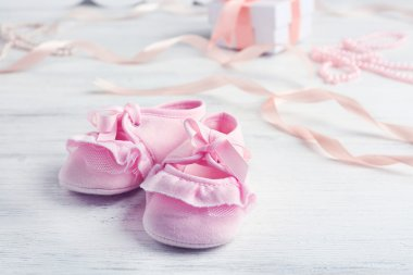 Beautiful composition with baby booties