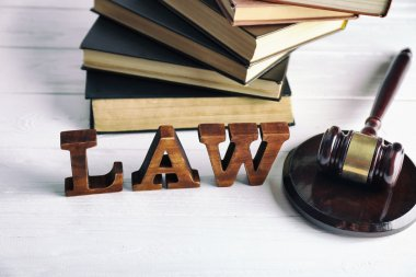 Word law with judges gavel