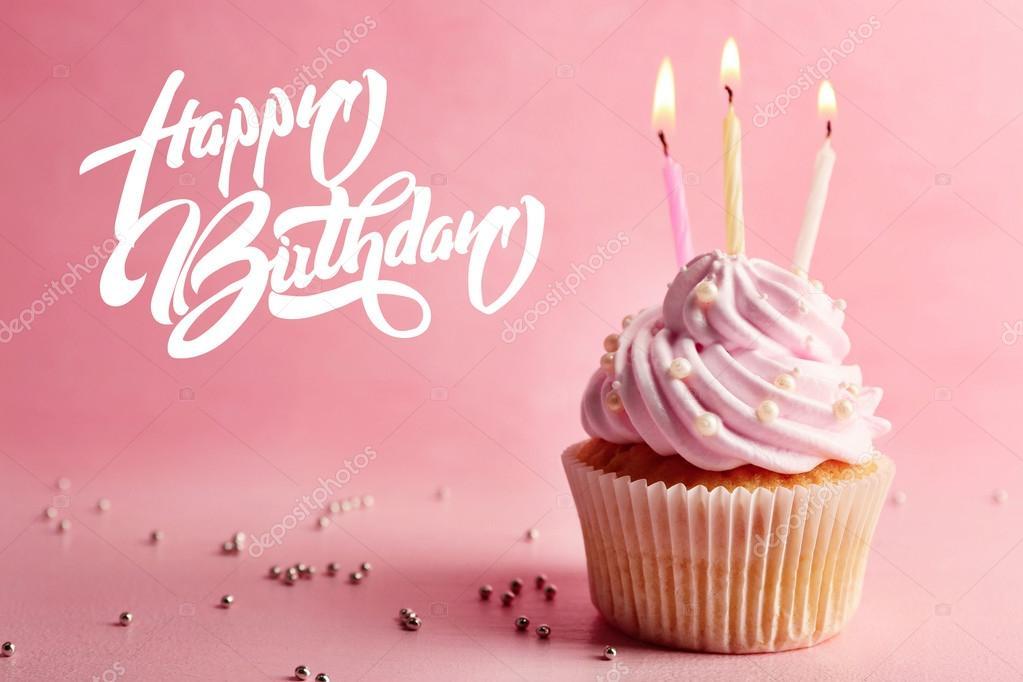 Geburtstag Cupcake Mit Kerze Stockfoto C Belchonock 120602564