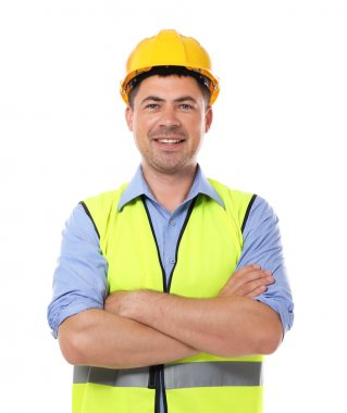 Construction worker, isolated on white stock vector