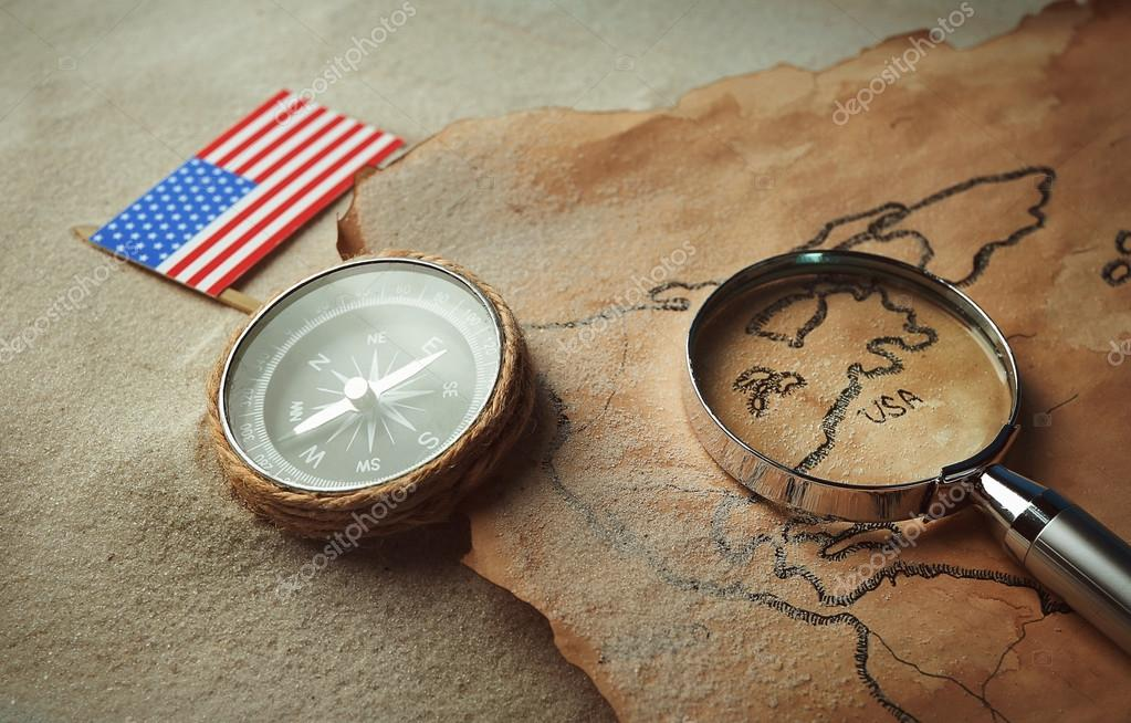 old map with compass american flag stock photo belchonock
