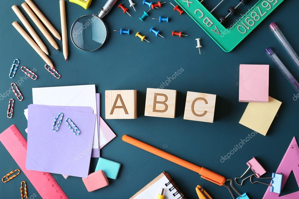 Colourful Stationery And Word ABC Stock Photo Belchonock 121885104