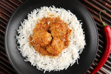 Tasty dinner with chicken curry