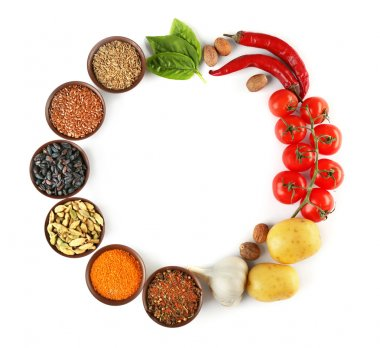 Vegetables and spices on white background