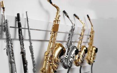Saxophones in music shop