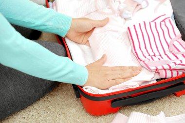 Pregnant woman preparing