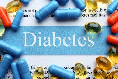 DIABETES word and pills, closeup