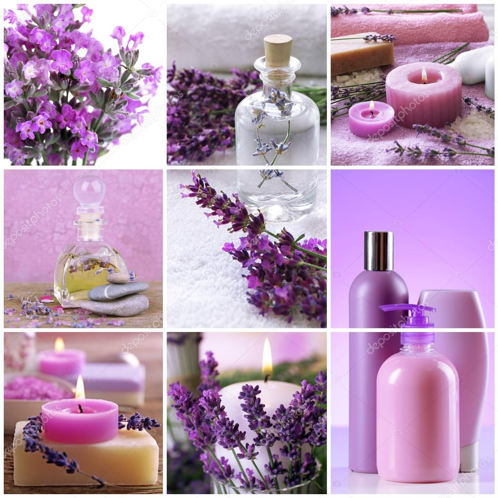 collage of cosmetic products and spa compositions beauty