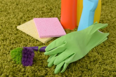 Cleaning items on carpet