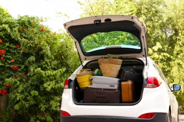 Suitcases and bags in trunk