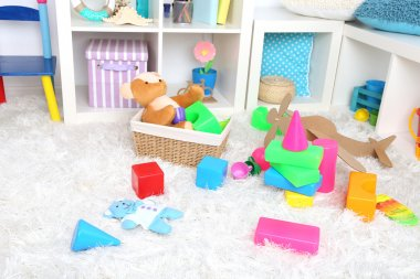 Colorful toys in children room