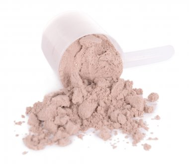 Whey protein powder in scoop isolated on white