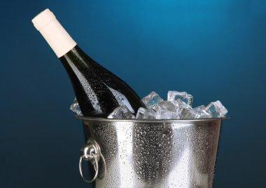 Bottle of wine in ice bucket
