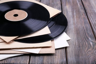 Vinyl records and paper covers
