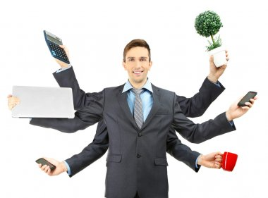 young businessman with many hands