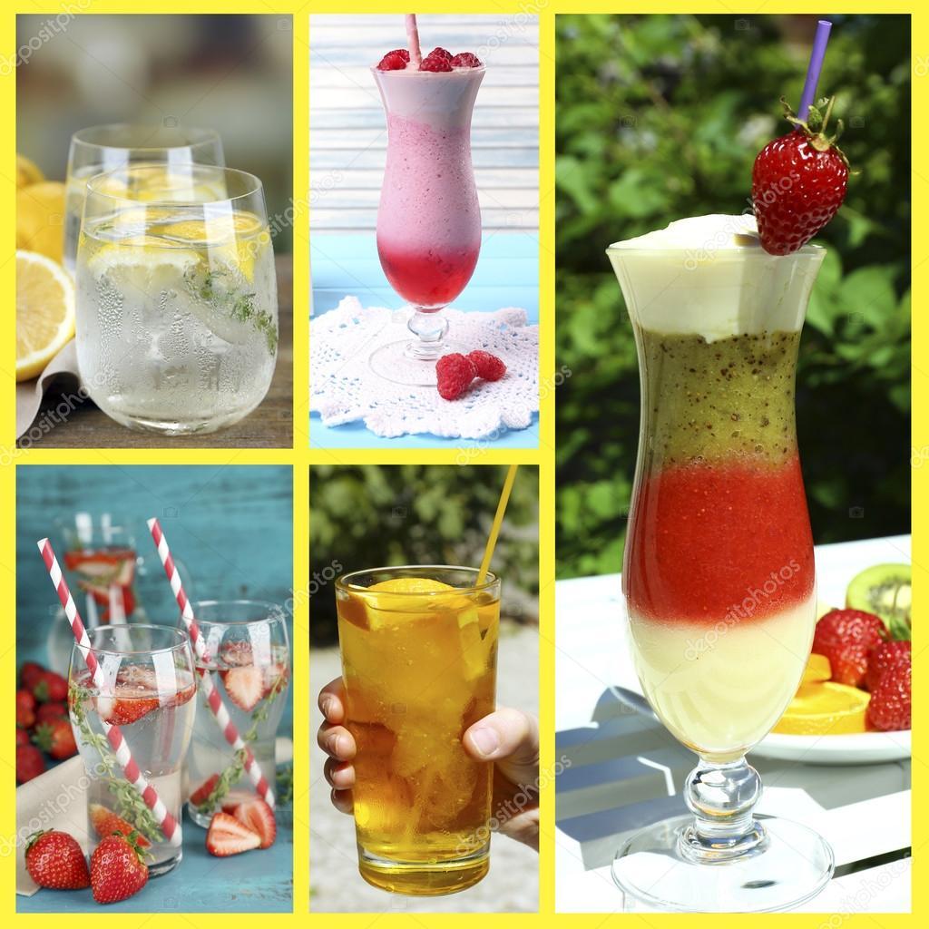 Collage aus kalten Sommer Getränke — Stockfoto © belchonock #53850561