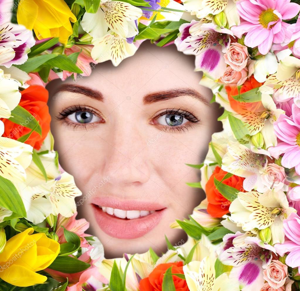 Gesicht der Frau mit Blumen Rahmen — Stockfoto © belchonock #53850719