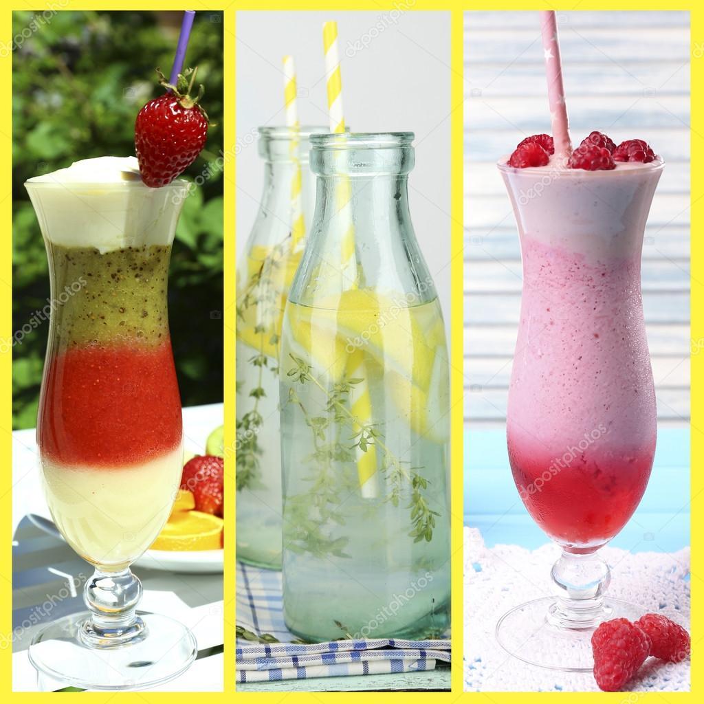 Collage aus kalten Sommer Getränke — Stockfoto © belchonock #53852365