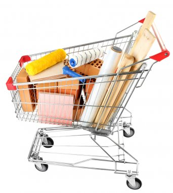 Shopping cart with materials for renovation