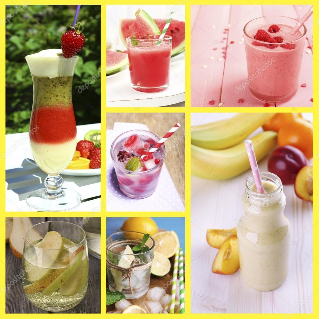 Collage aus kalten Sommer Getränke — Stockfoto © belchonock #53949535