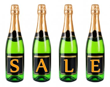 Sale concept. Bottle of champagne, isolated on white