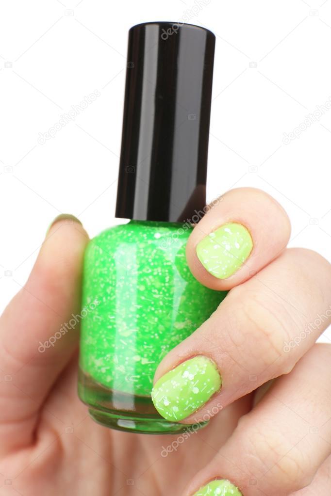 esmalte de uñas en la mano, close-up — Foto de stock © belchonock ...