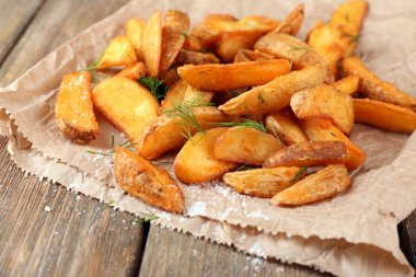 Homemade fried potato with spices