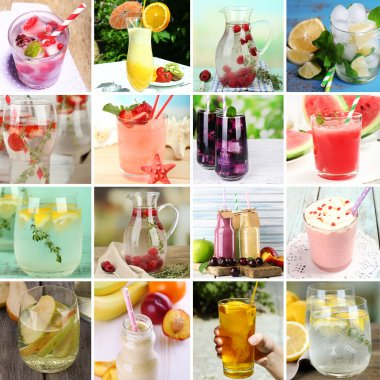 Collage of cold summer beverages