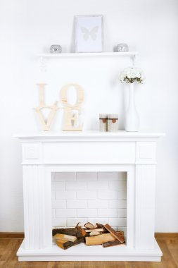 Fireplace with beautiful decorations