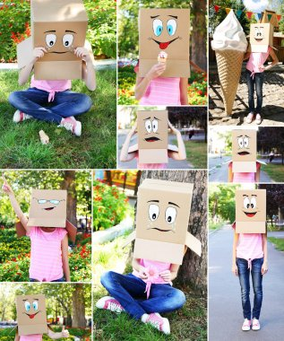 Collage of woman with cardboard box on her head, outdoors