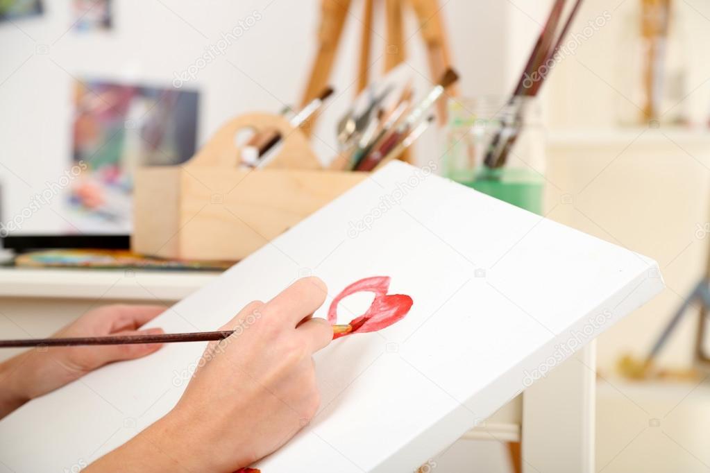 Artist painter on canvas