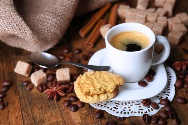 Cup of coffee and tasty cookie