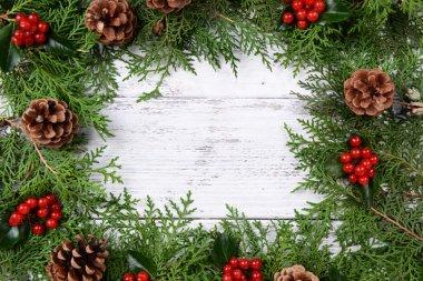 Christmas border from fir and mistletoe