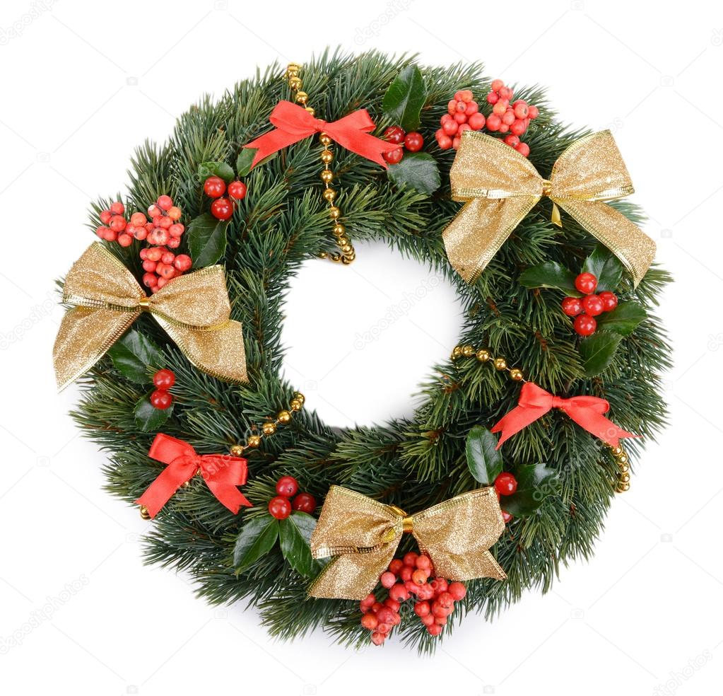 christmas decorative wreath with leafs of mistletoe isolated on white photo by belchonock - Mistletoe Christmas Decoration