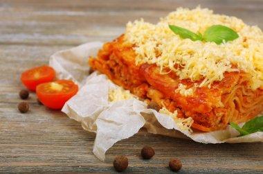 Portion of tasty lasagna
