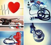 Koláž z medicínských obrazů. Koncept kardiologie
