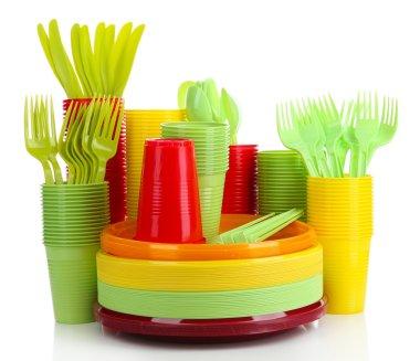 Bright plastic disposable tableware