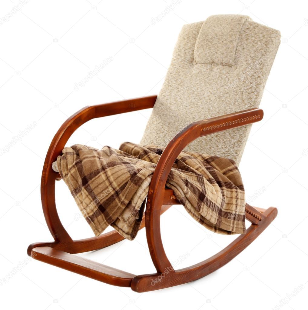 moderna gunga-stol med matta isolerad på vit — stockfotografi
