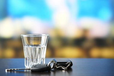 Alcoholic drink and car key
