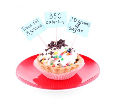 Delicious cake with calories count labels
