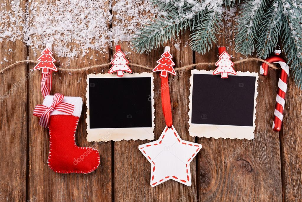 Blank Photo Frames And Christmas Decor Stock Photo Belchonock