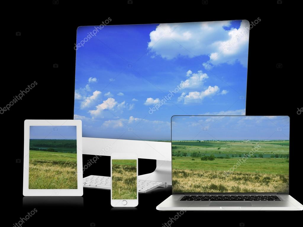 Monitor Laptop Tablets And Phone With Nature Wallpaper Stock
