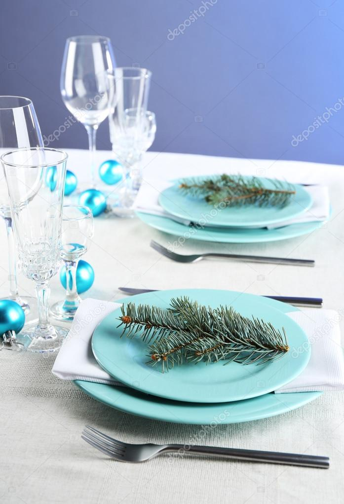 Stylish blue and white Christmas table setting on grey tablecloth background u2014 Stock Photo & Stylish blue and white Christmas table setting on grey tablecloth ...