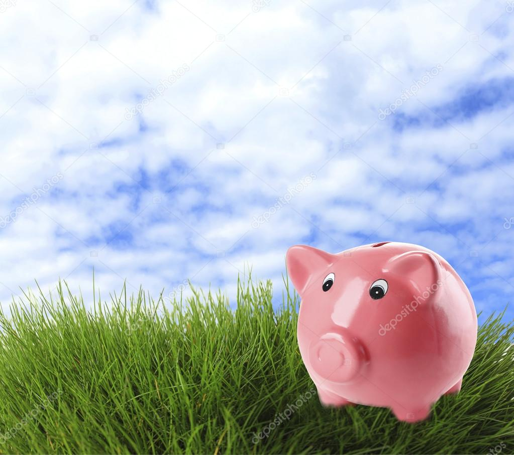 Piggy bank on field background