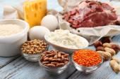 Jídlo v proteinu na stole, detail