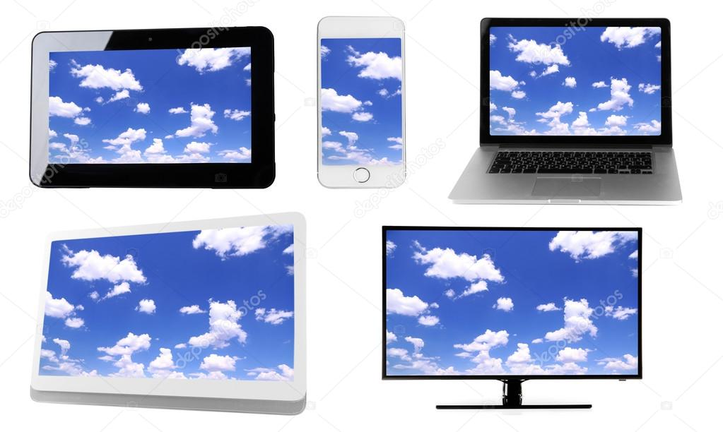 Monitors, laptop, tablet and phone with sky wallpaper on screens in collage isolated on