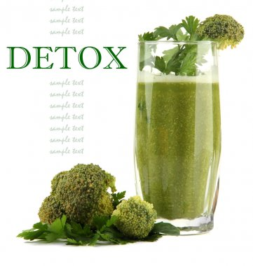 Glass of green vegetable juice with broccoli and parsley isolated on white, Detox.concept