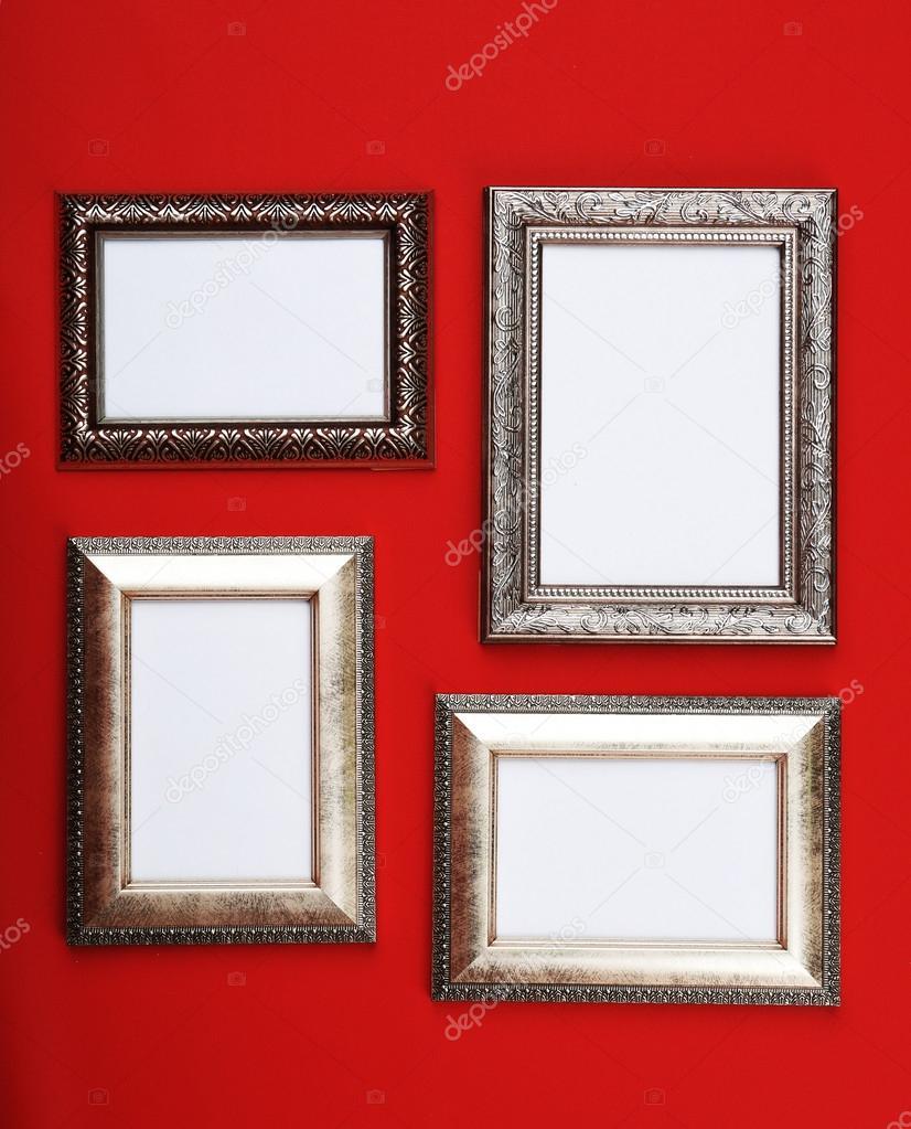 Marcos de fotos Vintage sobre fondo de papel pintado — Fotos de ...
