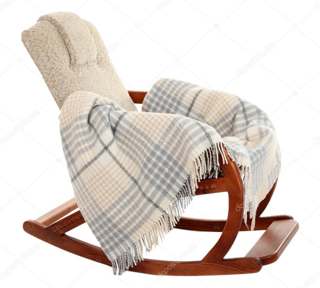 Moderner Schaukelstuhl moderner schaukelstuhl stuhl mit teppich isoliert auf weiss