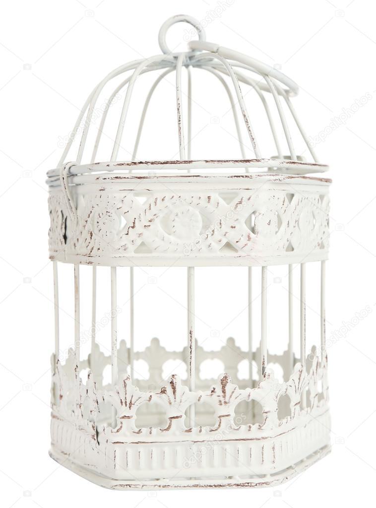 Decoratieve vogelkooi ge u00efsoleerd op wit  u2014 Stockfoto  u00a9 belchonock #62217209